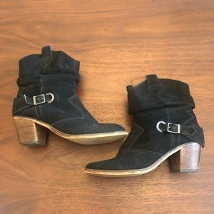 Decree Black Leather Ankle Boots Size 8